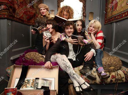 The host Salena Godden (Black Corset and purple Boa) and friends including Sara Stockbridge