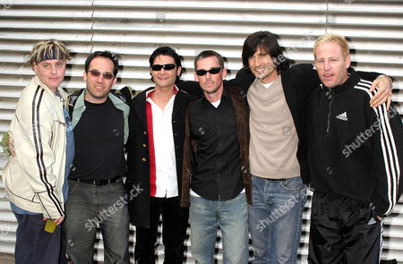 Members of 'The Lost Boys' cast Corey Haim, Jamison Newlander, Corey Feldman, Chance Michael Corbitt, Billy Wirth and Brooke McCarter