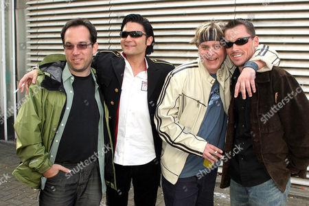 Stock Photo of Members of 'The Lost Boys' cast Jamison Newlander,Corey Feldman,Corey Haim and Chance Michael Corbitt.
