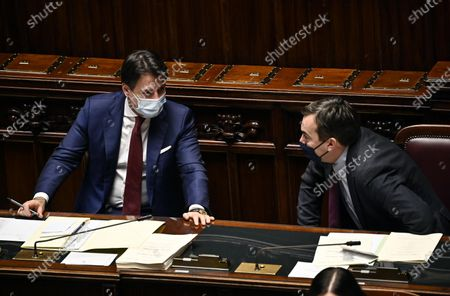 Italian Prime Minister Giuseppe Conte (L) with Minister of European Affairs Vincenzo Amendola (R) at the Chamber of Deputies on the upcoming European Council meeting, Rome, Italy, 09 December 2020.