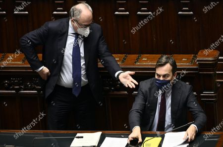Stock Picture of Minister of Economy Roberto Gualtieri (L) with Minister of European Affairs Vincenzo Amendola (R) at the Chamber of Deputies discussing on the upcoming European Council meeting, Rome, Italy, 09 December 2020.