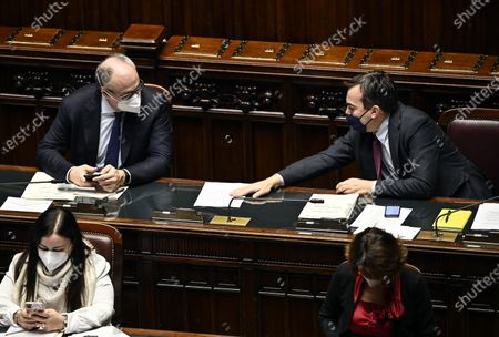 Minister of Economy Roberto Gualtieri (L) with Minister of European Affairs Vincenzo Amendola (R) at the Chamber of Deputies discussing on the upcoming European Council meeting, Rome, Italy, 09 December 2020.