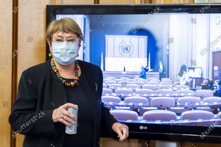 Michelle Bachelet, UN High Commissioner for Human Rights, poses after speaking about the Reflections on 2020 and looking ahead to 2021, during a press conference at the European headquarters of the United Nations in Geneva, Switzerland, 09 December 2020. Michelle Bachelet speaks on the eve of Human Rights Day on the need to recover better and stand up for human rights.