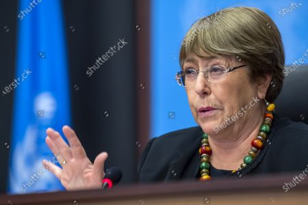 Michelle Bachelet, UN High Commissioner for Human Rights, speaks about the Reflections on 2020 and looking ahead to 2021, during a press conference at the European headquarters of the United Nations in Geneva, Switzerland, 09 December 2020. Michelle Bachelet speaks on the eve of Human Rights Day on the need to recover better and stand up for human rights.