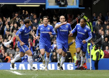 Alex Rodrigo Dias da Costa of Chelsea celebrates the opening goal