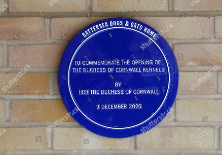 The plaque that was unveiled by Camilla Duchess of Cornwall with Beth, her jack-russell terrier, during a visit to the Battersea Dogs and Cats Home to open the new kennels and thank the centre's staff and supporters.