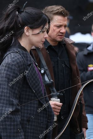 Stock Picture of Jeremy Renner and Hailee Steinfeld shooting on location for Marvel's series Hawkeye