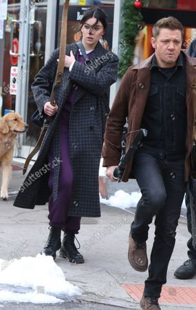 Jeremy Renner and Hailee Steinfeld shooting on location for Marvel's series Hawkeye