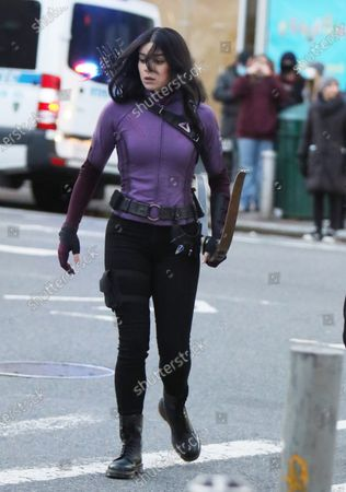 Hailee Steinfeld shooting on location for Marvel's series Hawkeye