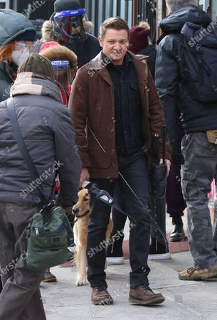 Jeremy Renner shooting on location for Marvel's series Hawkeye