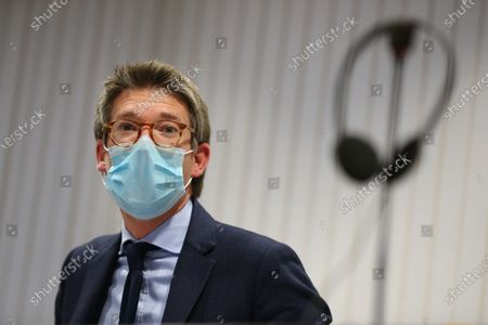 Stock Photo of Vice-prime minister and minister of Economy and Work Pierre-Yves Dermagne pictured during a press conference with the results of the recent social elections in Belgium, Wednesday 09 December 2020, in Brussels.