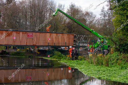 Editorial photo of HS2 bridge construction, Denham, Buckinghamshire, UK - 09 Dec 2020