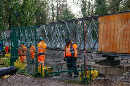 Editorial image of HS2 bridge construction, Denham, Buckinghamshire, UK - 09 Dec 2020