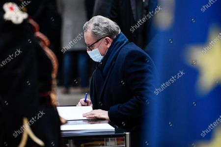 Stock Picture of President of the National Assembly Richard Ferrand signs the guest book for late former French President Valery Giscard d'Estaing at the Musee d'Orsay in Paris, France, 09 December 2020 on the national day of mourning for the former president. Valery Giscard d'Estaing died from Covid-19 aged 94, surrounded by his family on 02 December at the family estate. Giscard governed for a single seven-year term from 1974 to 1981.