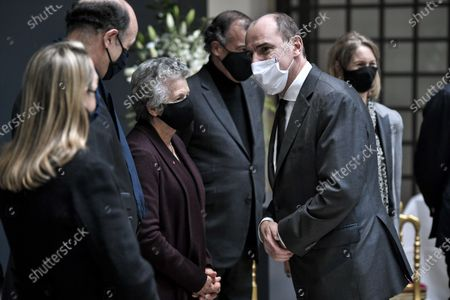Stock Image of French Prime Minister Jean Castex (R) greets Valery Giscard d'Estaing's widow Anne-Aymone (C) and her son Henri Giscard d'Estaing (2nd-L) as he arrives to sign the guest book for late former French President Valery Giscard d'Estaing at the Musee d'Orsay in Paris, France, 09 December 2020 on the national day of mourning for the former president. Valery Giscard d'Estaing died from Covid-19 aged 94, surrounded by his family on 02 December at the family estate. Giscard governed for a single seven-year term from 1974 to 1981.
