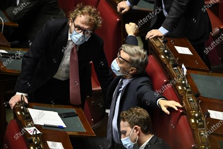 Deputies of Democratic Party Luca Lotti (L) speaks with Graziano Delrio (R) as PM Conte delivered a speech at the Chamber of Deputies on the upcoming European Council meeting, Rome, Italy, 09 December 2020.