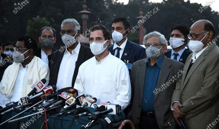 (L-R,front) India's opposition party leaders, DMK's TKS Elangovan, Congress party president Rahul Gandhi, CPI general secretary D Raja, CPI (M) general secretary Sitaram Yechury and Nationalist Congress Party (NCP) chief Sharad Pawar address the media after a meeting with the Indian President in a bid to urge him to repeal the new farm laws, in New Delhi, India, 09 December 2020. Thousands of farmers gathered and tried to cross the sealed New Delhi border points to hold protests against the government's new farm laws. Farmers have been stopped by the police at the various points outside the Delhi border, which are connected with neighbouring states of Haryana and Uttar Pradesh.