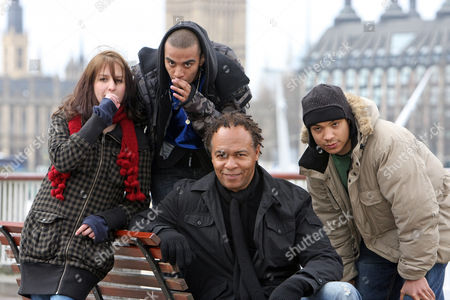 Stock Picture of Music Legend Ray Parker Jr Performs A Version Of His World Smash Hit 'ghostbusters' With Thre Uk Beatboxers After Seeing Them On Myspace London Beatboxers Testament (hat) Bellatrix (girl) And Mc Zani (hood)