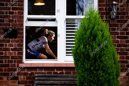 Stock Photo of Elinor Barker of Great Britain in action during the inaugural UCI Cycling eSports World Championships from her home in Manchester.
