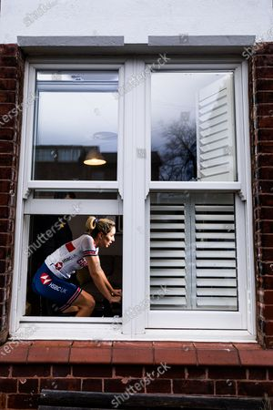 Stock Image of Elinor Barker of Great Britain in action during the inaugural UCI Cycling eSports World Championships from her home in Manchester.