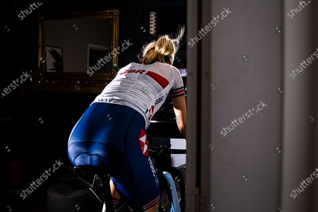 Elinor Barker of Great Britain in action during the inaugural UCI Cycling eSports World Championships from her home in Manchester.