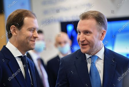 "Stock Photo of The International Export Forum ""Made in Russia - 2020"" was held at the International Multimedia Press Center of the MIA ""Rossiya Segodnya"". Minister of Industry and Trade of Russia Denis Manturov (left) and Chairman of the State Corporation ""Bank for Development and Foreign Economic Affairs (Vnesheconombank)"" Igor Shuvalov (right) visiting an exhibition within the framework of the export forum, which presents high-tech goods and services of Russian exporters in the field of medicine, information technology and industry."