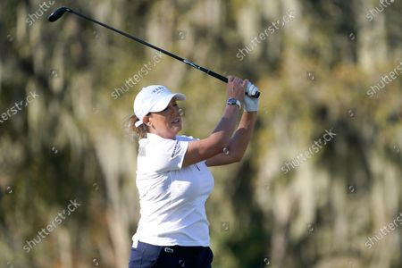 Cristie Kerr hits her tee shot on the 12th hole during a practice round at the U.S. Women's Open golf championship, in Houston