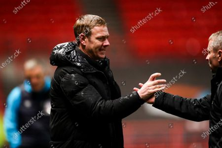 Stock Picture of Bristol City head coach Dean Holden and Bristol City assistant head coach Paul Simpson after Bristol City win 1-0