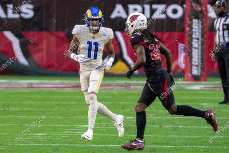 Los Angeles Rams wide receiver Josh Reynolds (11) in action against Arizona Cardinals cornerback Dre Kirkpatrick (20) during an NFL football game, in Glendale, Ariz
