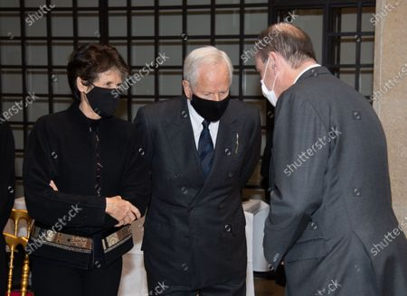 alerie-Anne Giscard d'Estaing and her husband Bernard Fixot, French Prime Minister Jean Castex as he arrives to sign the guest book for late former French President Valery Giscard d'Estaing at the Musee d'Orsay in Paris on the national day of mourning for the former president. Valery Giscard d'Estaing died from Covid-19 aged 94, surrounded by his family on December 2 at the family estate. Giscard governed for a single seven-year term from 1974 to 1981.