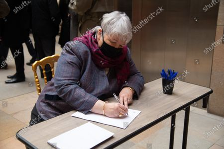 Jacqueline Gourault signs the guest book for late former French President Valery Giscard d'Estaing at the Musee d'Orsay in Paris on the national day of mourning for the former president. Valery Giscard d'Estaing died from Covid-19 aged 94, surrounded by his family on December 2 at the family estate. Giscard governed for a single seven-year term from 1974 to 1981.