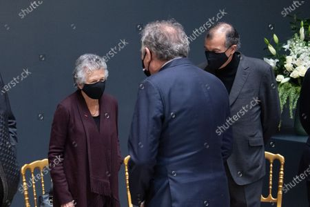 Pau's Mayor Francois Bayrou greets Valery Giscard d'Estaing's widow Anne-Aymone as he arrives to sign the guest book for late former French President Valery Giscard d'Estaing at the Musee d'Orsay in Paris on the national day of mourning for the former president. Valery Giscard d'Estaing died from Covid-19 aged 94, surrounded by his family on December 2 at the family estate. Giscard governed for a single seven-year term from 1974 to 1981.