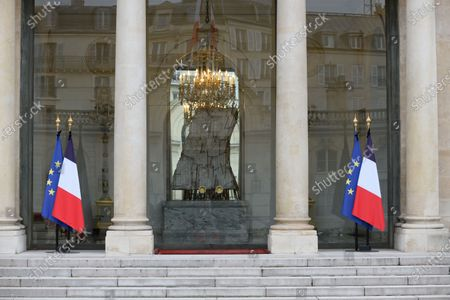 Flags at half mas at Elysee Palace after the death of the former President Valery Giscard d Estaing.