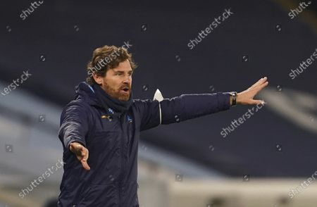 Marseille's head coach Andre Villas-Boasgives instructions from the side line during the Champions League, Group C, soccer match between Manchester City and Marseille at the Etihad stadium in Manchester in London