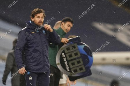 Marseille's head coach Andre Villas-Boas gestures during the Champions League, Group C, soccer match between Manchester City and Marseille at the Etihad stadium in Manchester in London