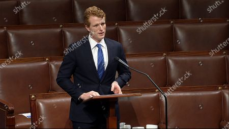 In this image from video, retiring Rep. Joe Kennedy III, D-Mass., speaks on the floor of the U.S. House, on Capitol Hill in Washington