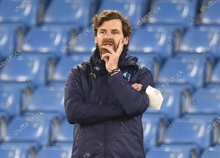 Olympique Marseille's manager Andre Villas Boas reacts during the UEFA Champions League group C soccer match between Manchester City and Olympique Marseille in Manchester, Britain, 09 December 2020.
