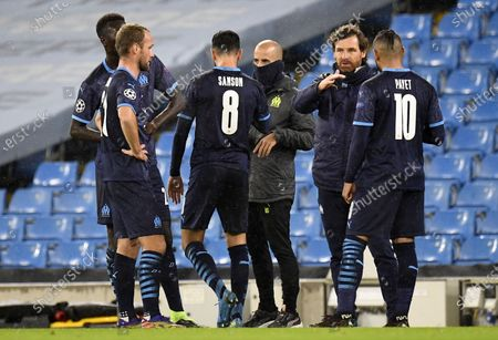 Olympique Marseille's manager Andre Villas Boas speaks to his players during the UEFA Champions League group C soccer match between Manchester City and Olympique Marseille in Manchester, Britain, 09 December 2020.