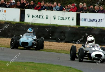 2006 Goodwood Revival Goodwood 1st/2nd/3rd September 2006  Chichester Cup Robin Longdon (Lola-Ford Mk2) leads as Stuart Roach (Alexis-Ford Mk2) slides wide. Action. World Copyright: Jeff Bloxham/LAT Photographic. Ref: Digital Image Only.