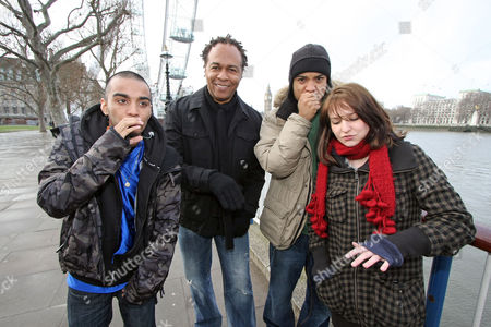 Stock Image of Music Legend Ray Parker Jr Performs A Version Of His World Smash Hit 'ghostbusters' With Thre Uk Beatboxers After Seeing Them On Myspace London Beatboxers Testament (hat) Bellatrix (girl) And Mc Zani (hood)