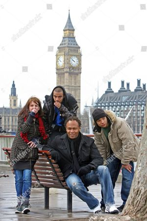 Editorial image of Music Legend Ray Parker Jr Performs A Version Of His World Smash Hit 'ghostbusters' With Three Uk Beatboxers After Seeing Them On Myspace London Beatboxers Testament (hat) Bellatrix (girl) And Mc Zani (hood)