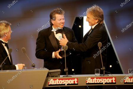 2005 Autosport Awards Grosvenor House, London. 4th December. Derek Bell presents a John Bolster Award to John Force. World Copyright: Malcolm Griffiths/LAT Photographic