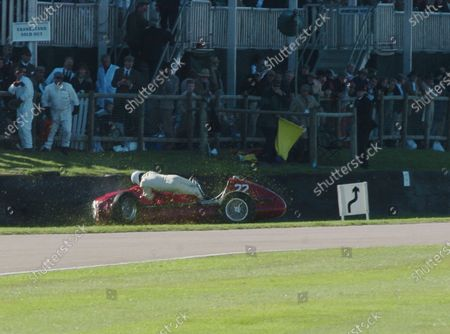 2005 Goodwood Revival Meeting Goodwood, West Sussex. 16th - 18th September 2005 Goodwood Trophy. Willie Green (Maserati 4CLT) is thrown from his car onto the track. World Copyright: Jeff Bloxham/LAT Photographic Digital Image Only