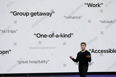 """Airbnb co-founder and CEO Brian Chesky speaks during an event in San Francisco. Thirteen years after its founders first rented air mattresses in their San Francisco apartment, Airbnb is making its long-awaited stock market debut. The home sharing company priced its shares at $68 apiece late giving it an overall value of $47 billion. Starting Thursday, it will trade on the Nasdaq Stock Market under the symbol """"ABNB"""