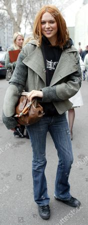 Model Elise Crombez Pictured Wearing A Balenciaga Cape During Milan Fashion Week.