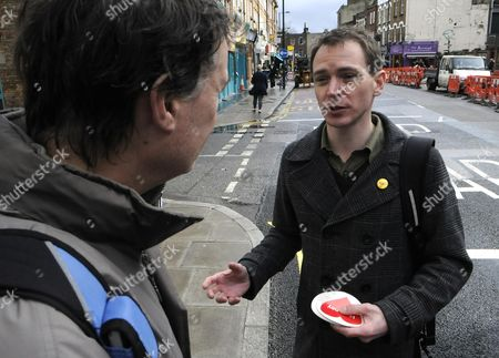 Editorial image of Keith Angus, Liberal Democrat candidate for Hackney North and Stoke Newington, canvassing on Stoke Newington Church Street, London, Britain - Feb 2010