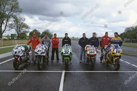 Stock Photo of 2002 Dadford Road Opening. Silverstone, England. 23rd May 2002. World Superbike riders help open the new road leading to Silverstone (L-R) Colin Edwards (USA), Peter Goddard (AUS), Troy Bayliss (AUS), Eric Bostrom (USA), James Toseland (GBR), Neil Hodgson (GBR), Ruben Xaus (ESP) and Gregorio Lavilla (ESP). World Copyright: Peter Spinney/LAT