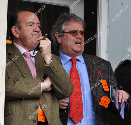 Mel Smith Enjoys A Cigar While Watching The Racing At The Cheltenham Festival 11.03.09 Cheltenham Festival Day Two.