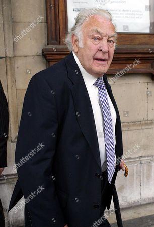 Sir Donald Sinden Arrives For Sir John Mills' Memorial Service At St Martin-in-the-fields London.
