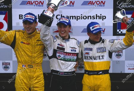 Stock Image of 2002 British Formula Three Championship Snetterton, England. August 31st - September 1st. Round 22 podium, 1st Robbie Kerr, 2nd Bruce Jouanny and 3rd Heikki Kovalainen. World Copyright: Peter Spinney/LAT Photographic